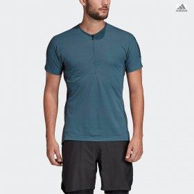 T- shirt manica corta mezza zip uomo adidas running/trail